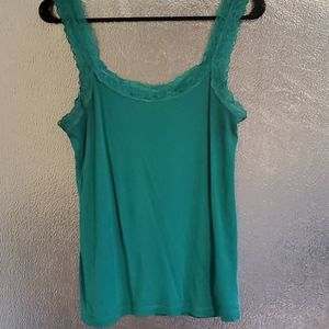 Buy 4, get 1 free/ h&m green lace tank